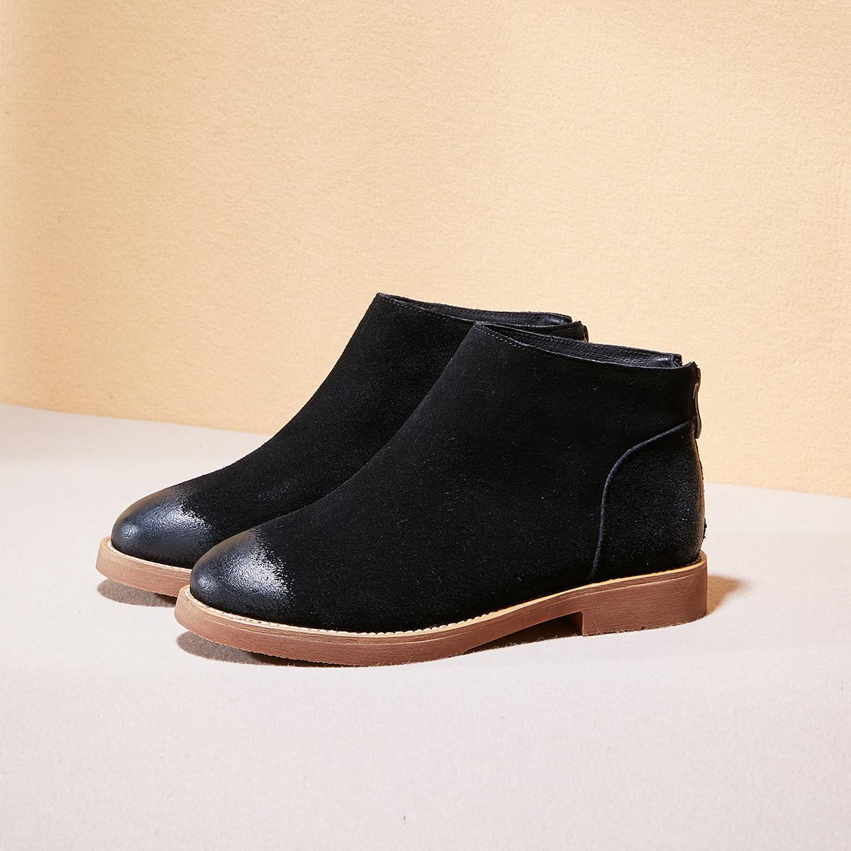 康奈2019冬季新款套脚切尔西靴牛反绒女短靴保暖加绒女款靴子女鞋15298047-51