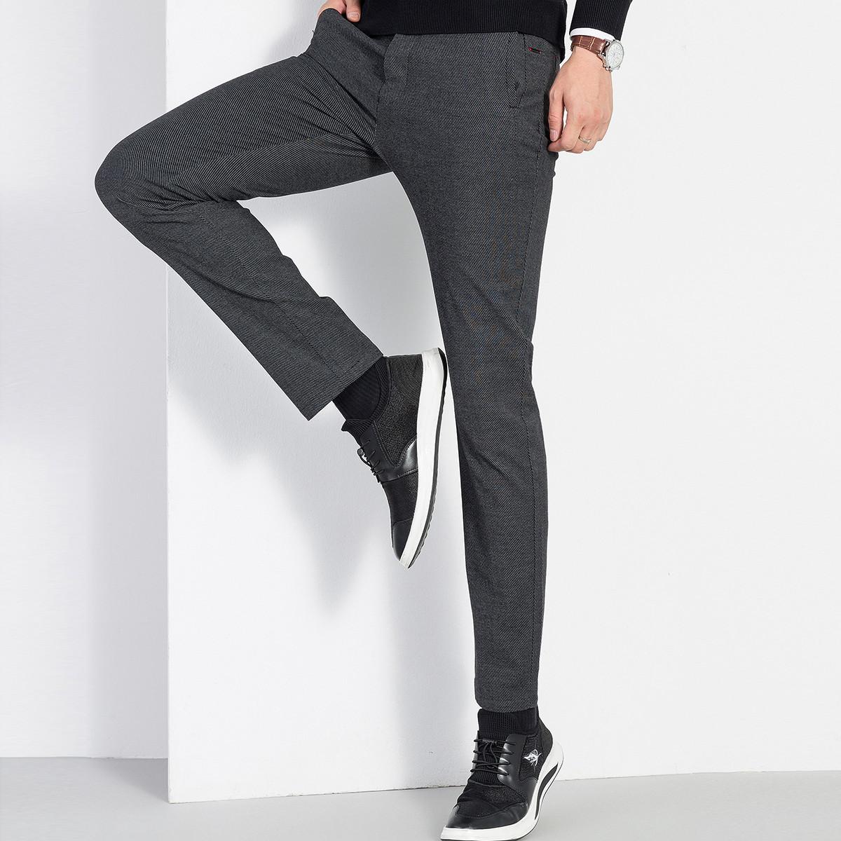 L#039ALPINA2019秋季新款弹力舒适时尚简约百搭直筒纯色小脚裤子男士休闲长裤DSKZMDL216290