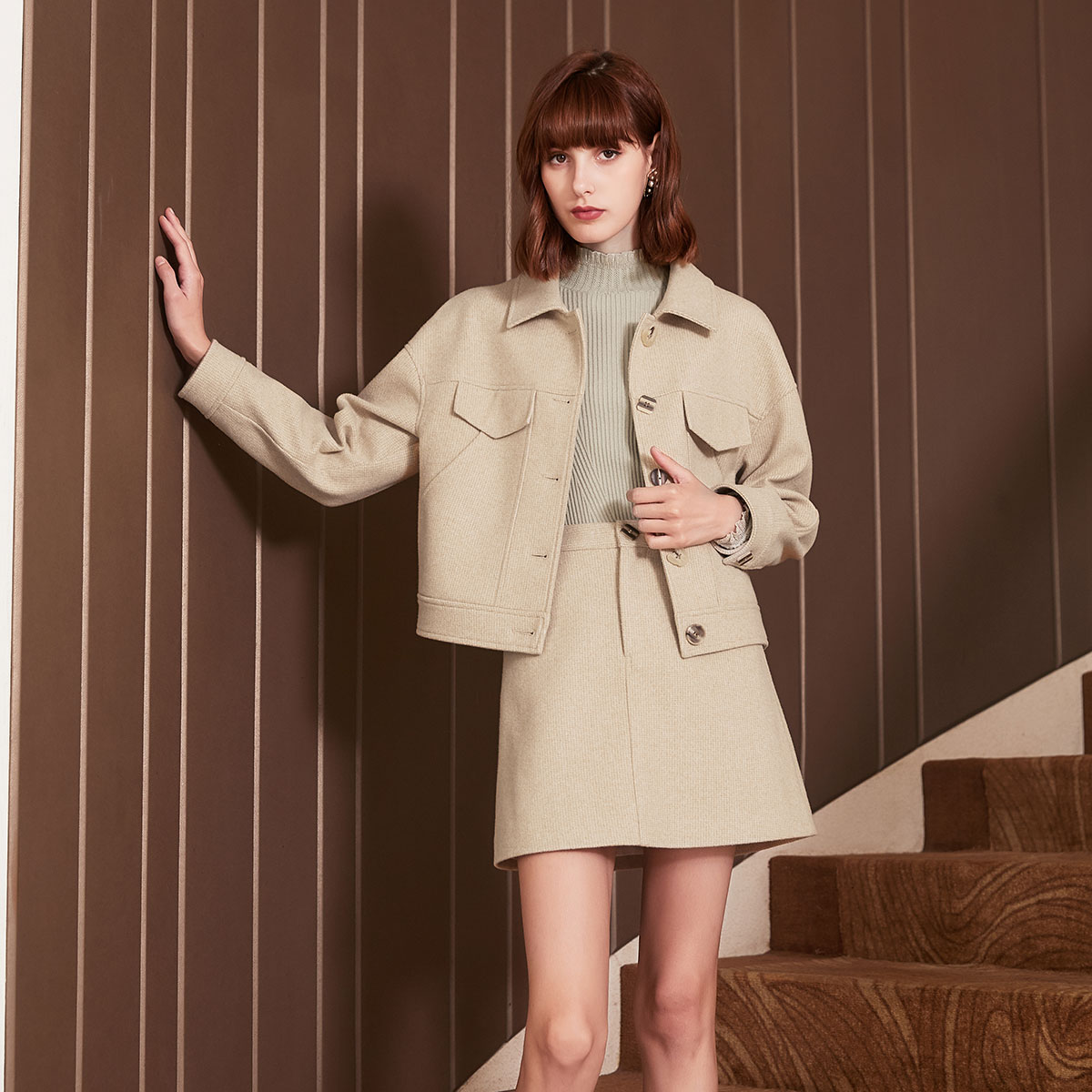 香影香影秋冬装新款韩版显瘦宽松上衣休闲翻领夹克短款格子外套J894022800
