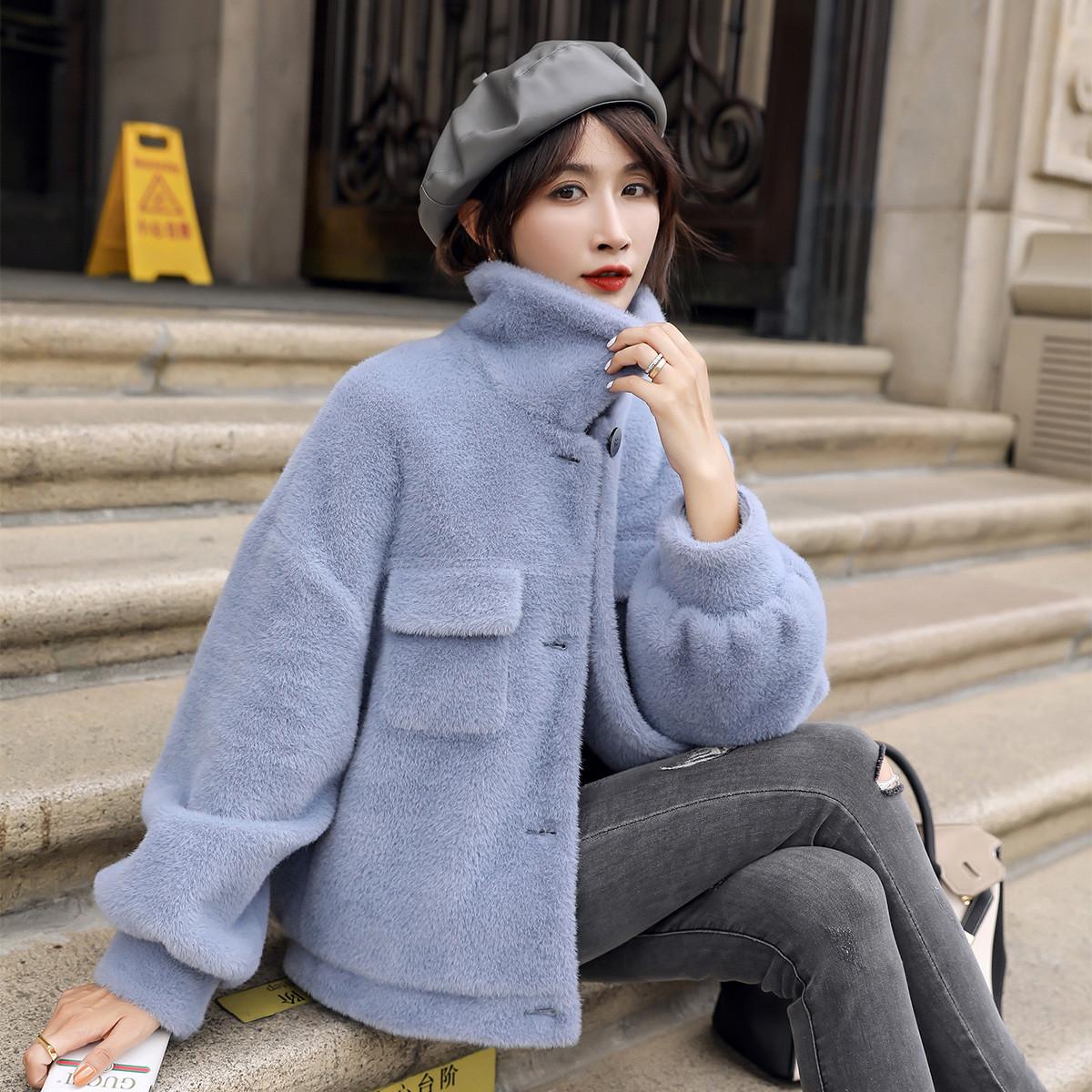 艾夫斯艾夫斯外套女休闲外套女外搭开衫保暖外套气质仿貂绒外套419410204609