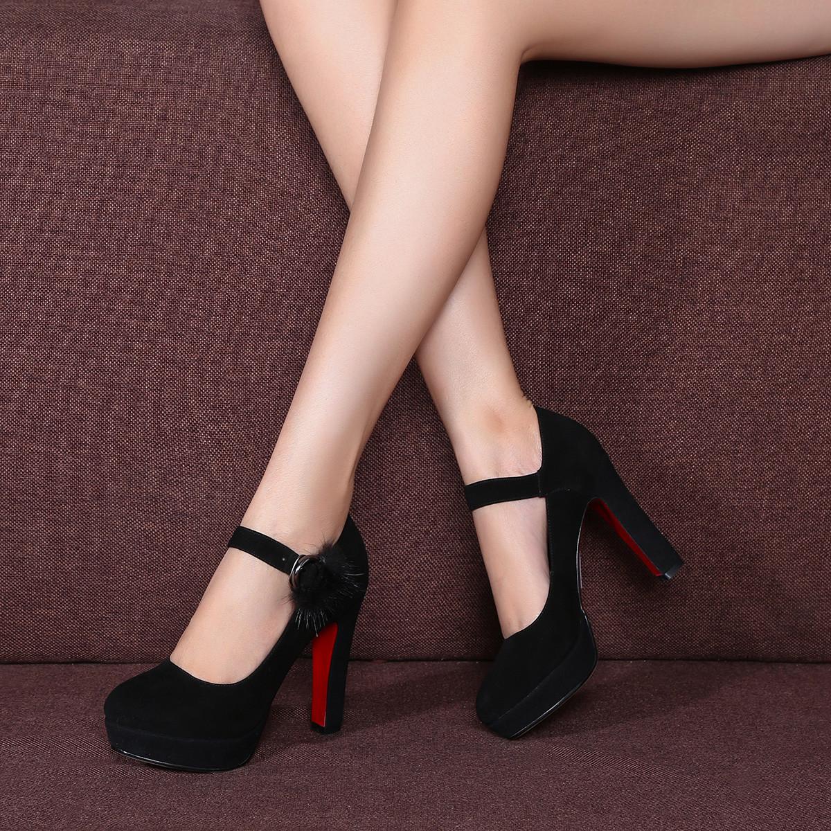 波尔谛奇新款【羊猄】优雅毛绒装饰通勤厚底尖头浅口女细高跟单鞋玛丽珍鞋B7QD91022-3-H1