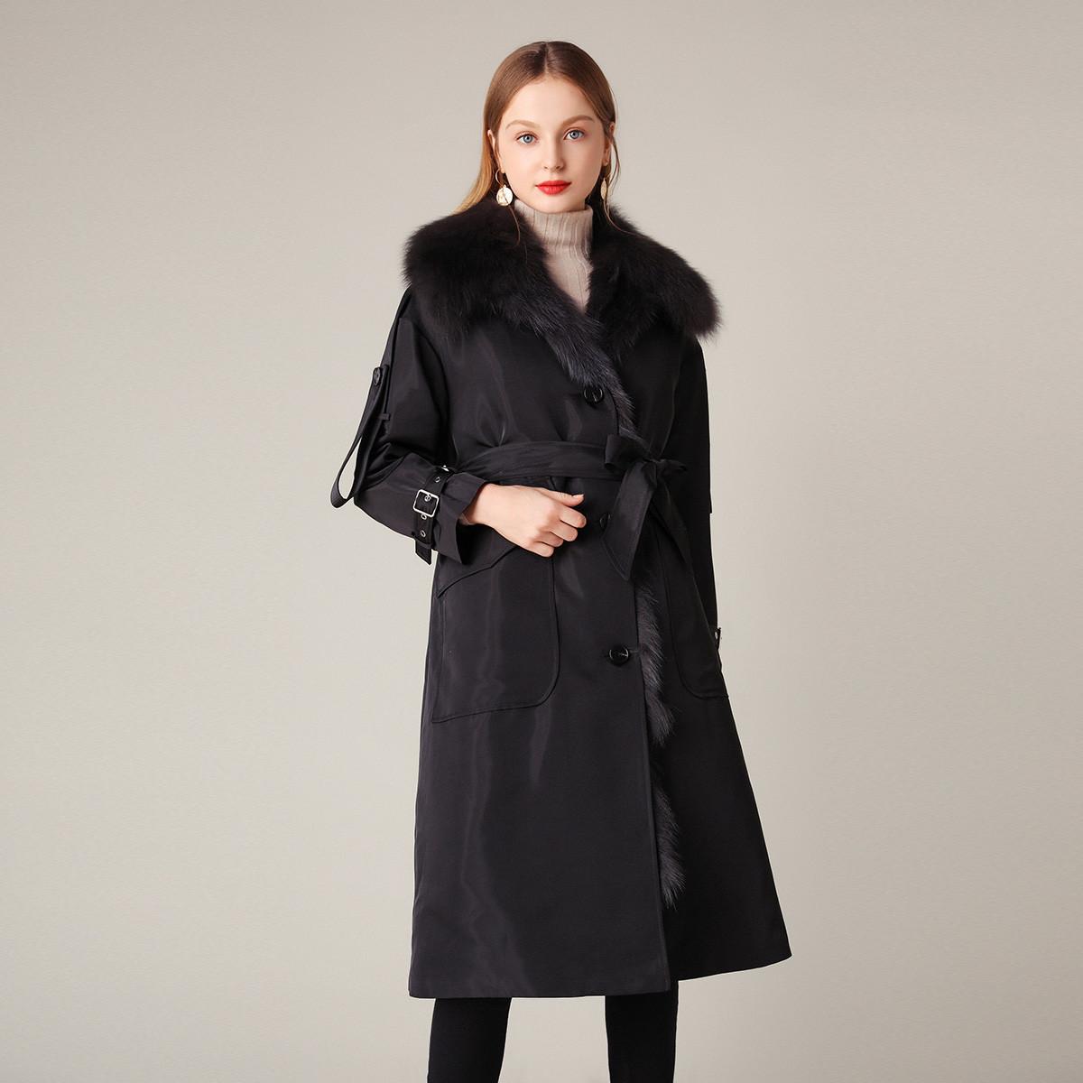 歌璐19年秋冬新款时尚宽松派克服皮草内胆狐狸毛尼克服外套女GXS12596899