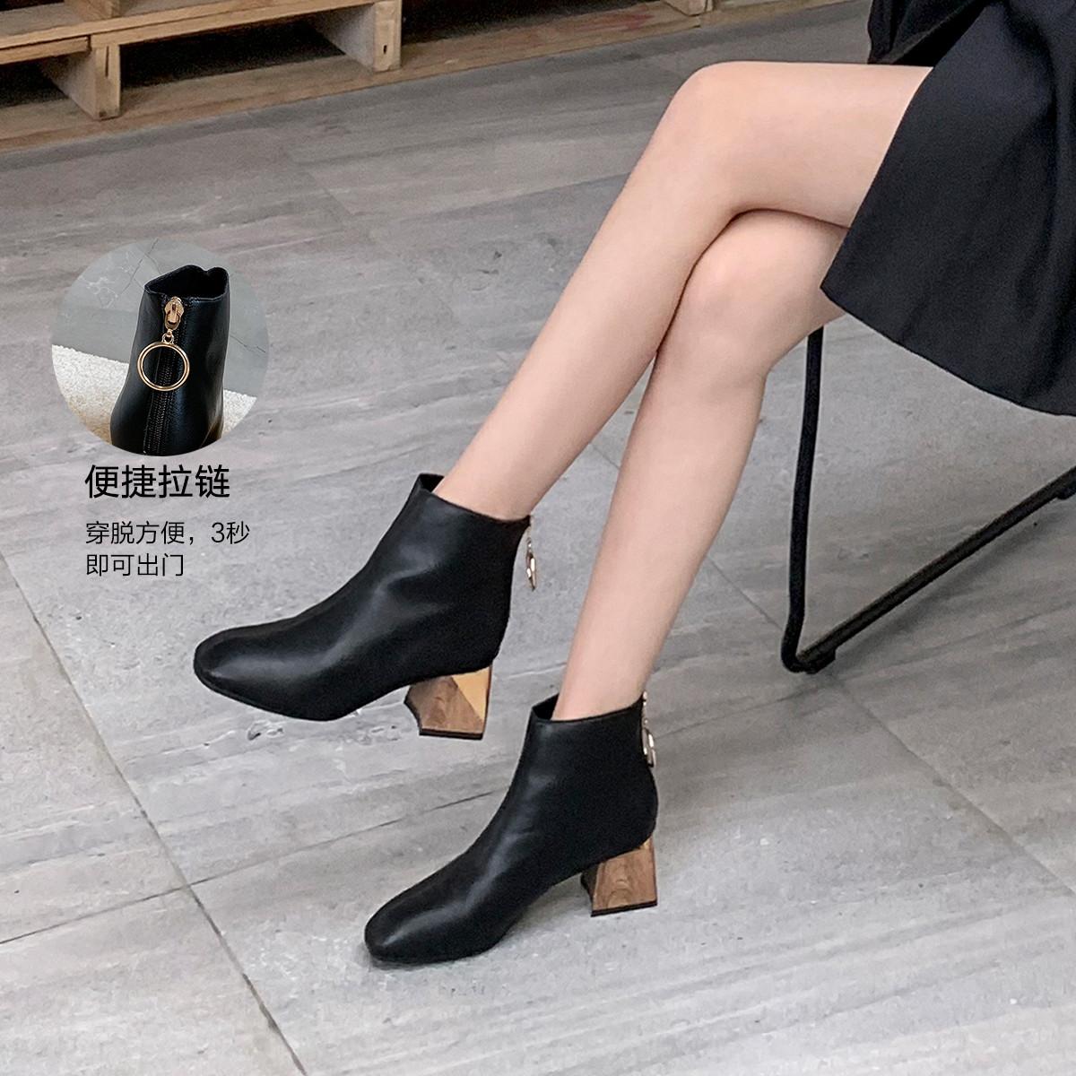 ZHR【欧美风】19新小皮靴机车单靴切尔西靴及踝靴秋冬靴子女靴短靴194AF60107-黑色