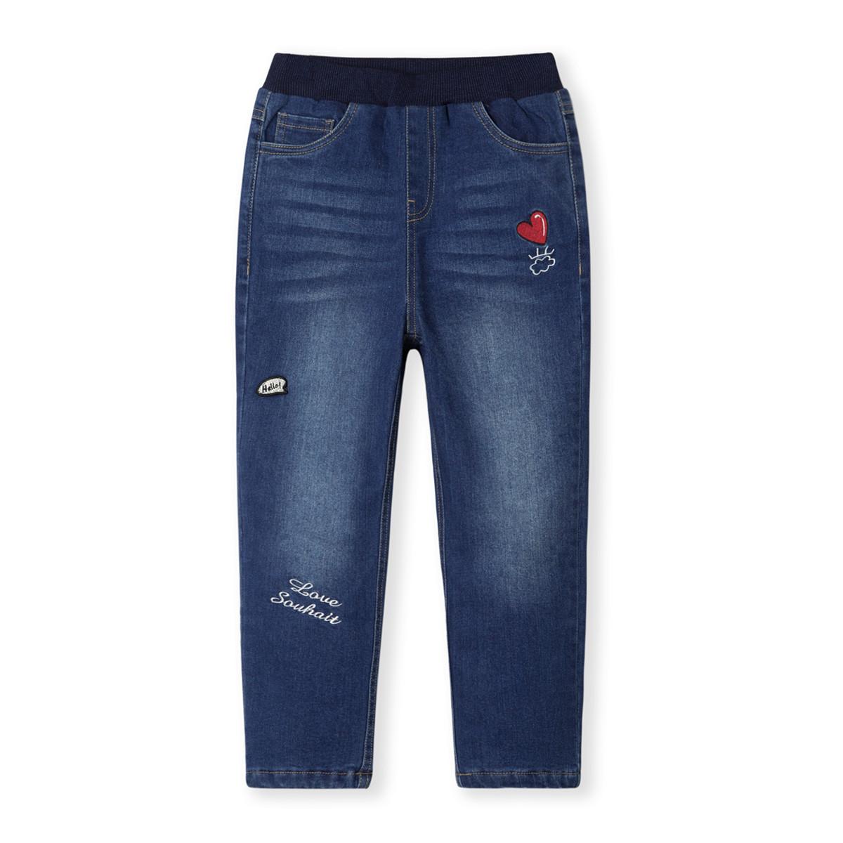 水孩儿水孩儿童装秋冬装新款女童时尚牛仔双层长裤SHNDGD32CK695J01