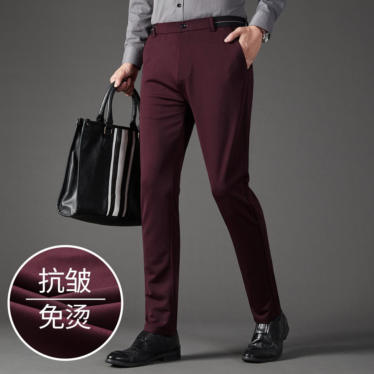 富铤【挺括保暖】2019新款男士休闲长裤经典纯色商务版型男式西裤F256409327753