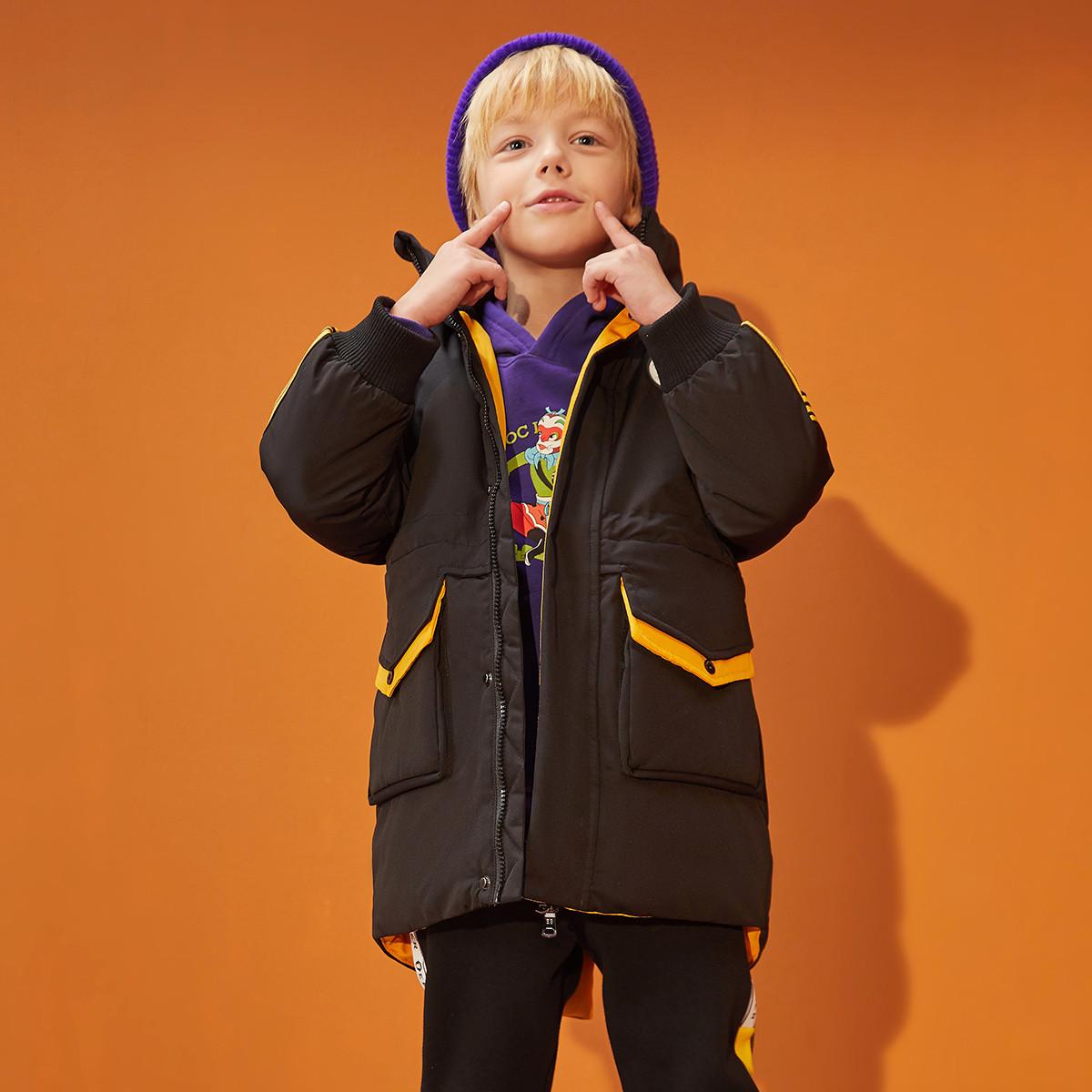 一贝皇城一贝皇城男童中长款羽绒服2019冬装新款中大童加厚儿童保暖外套潮1119410060001