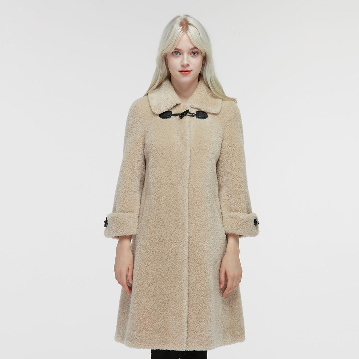 奥索洛时尚休闲韩版百搭长款羊毛大衣颗粒绒复合皮毛一体保暖皮草外套女ZW049490773
