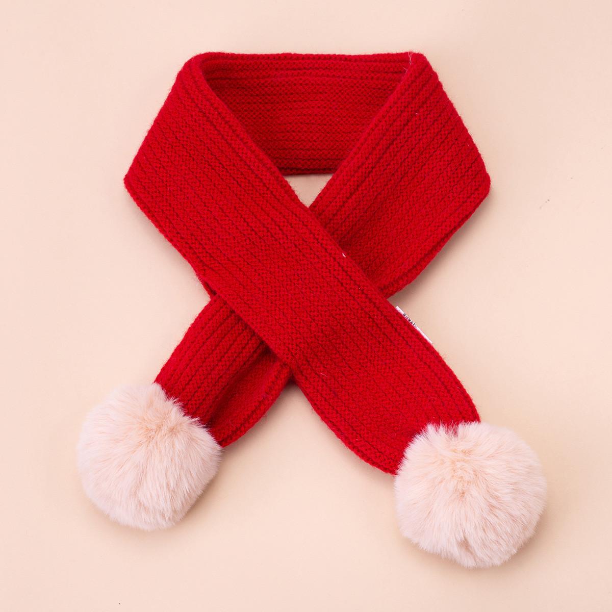 富罗迷富罗迷冬新款女童围巾时尚百搭甜美可爱毛球装饰保暖PS19012WJ01