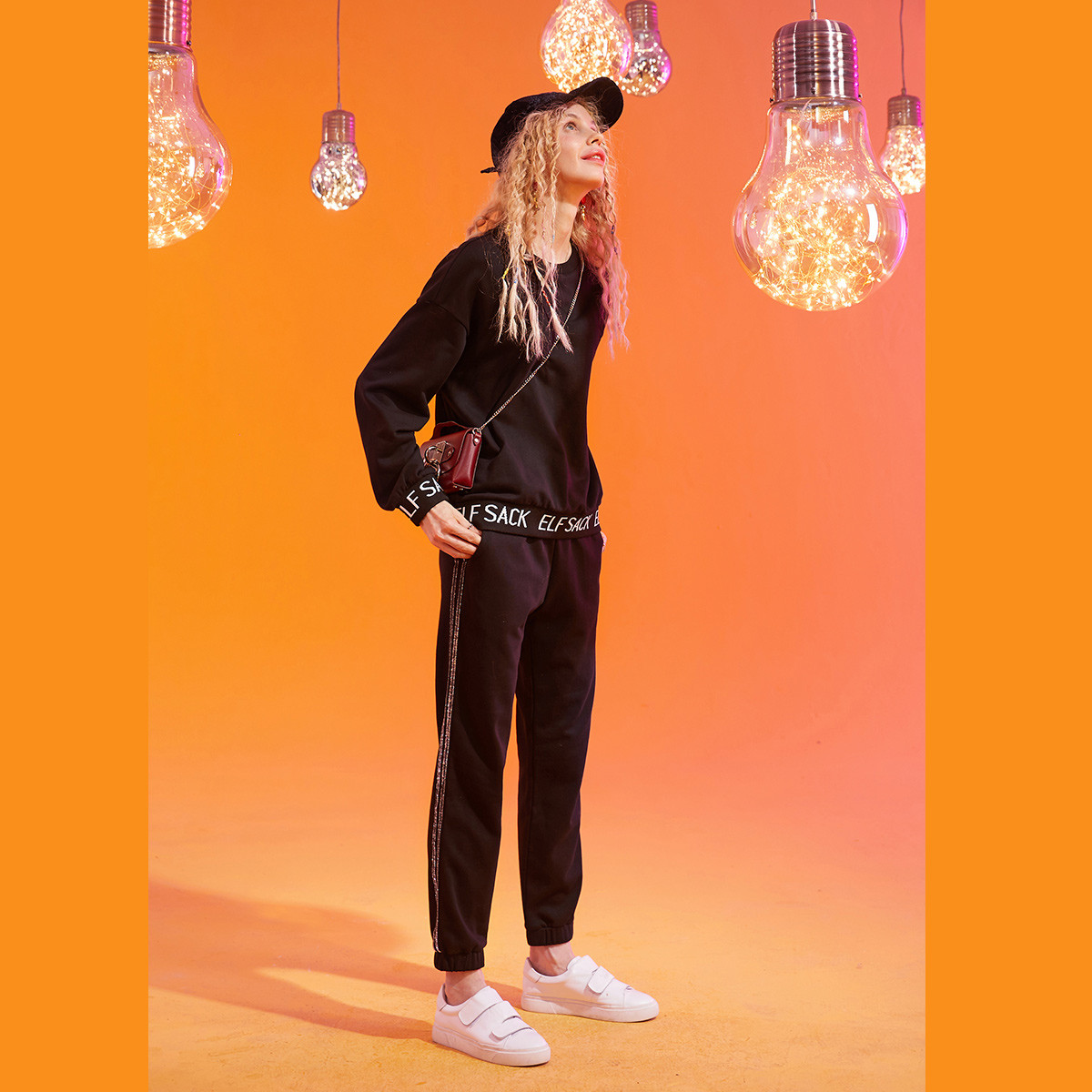 妖精的口袋秋冬新款纯色女式套装宽松套头卫衣休闲时尚束脚九分裤运动装P194120297006