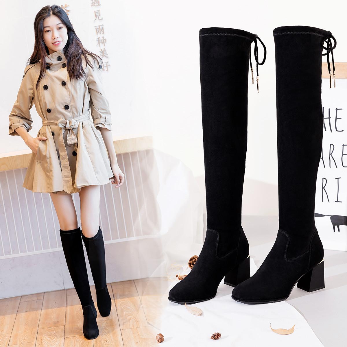 捷迪尼娅19秋冬新款绒面高跟弹力靴过膝保暖气质长靴优雅绑带女士高筒靴JDC63-88161BK