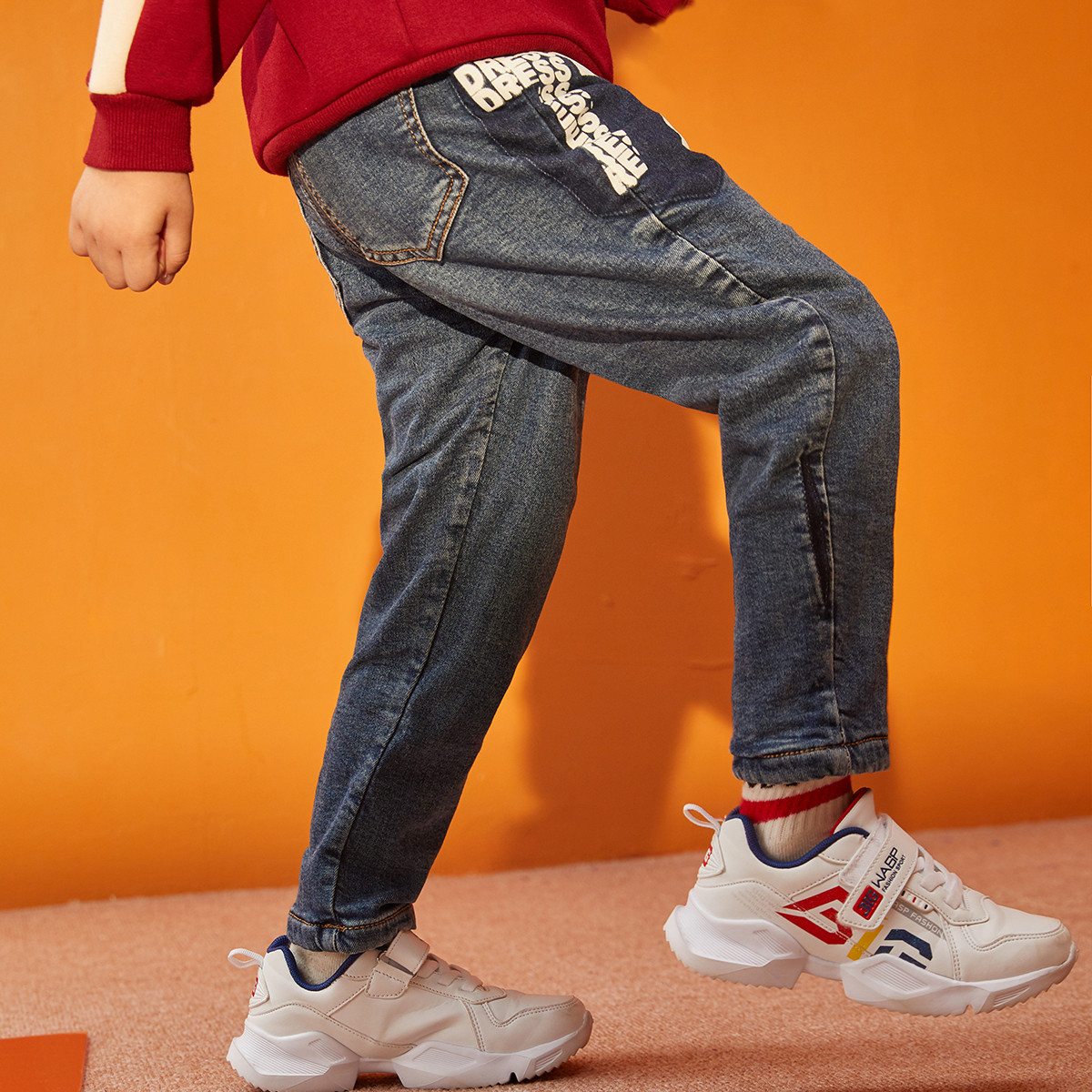 一贝皇城一贝皇城男童牛仔裤2019冬季新品中大童宽松长裤韩版休闲裤1119412051508