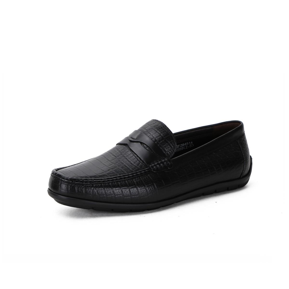 诺贝达进口鳄鱼纹鹿皮商务休闲一脚蹬男鞋男士皮鞋 超轻底SRF28451A