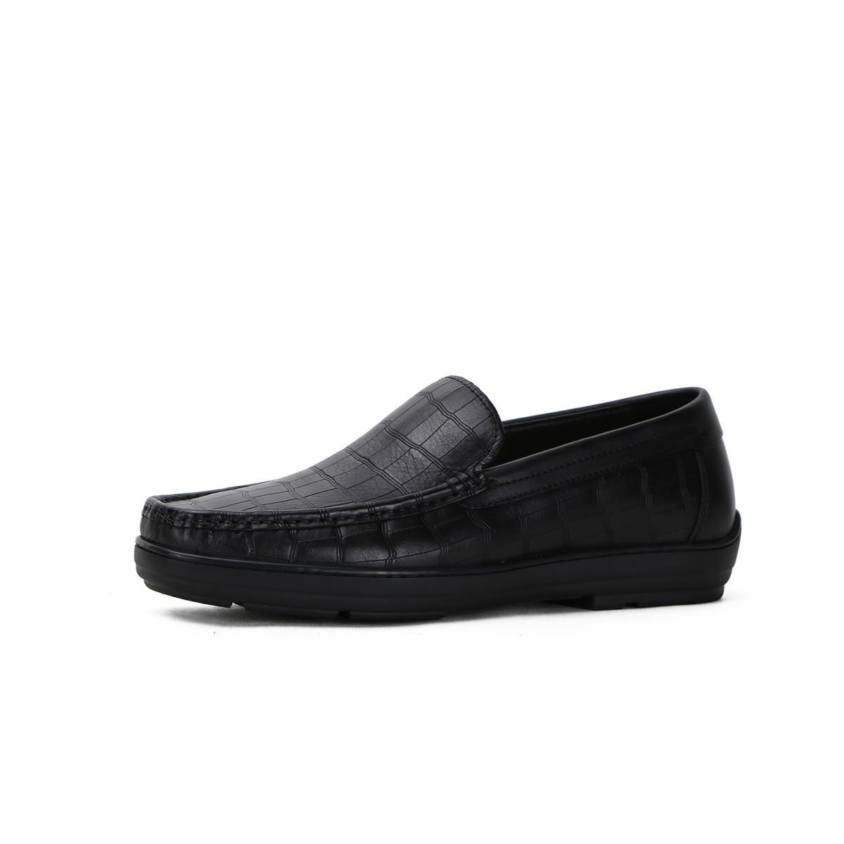 诺贝达摔纹牛皮配石头纹牛皮商务休闲一脚蹬男鞋男士皮鞋SRF59234A