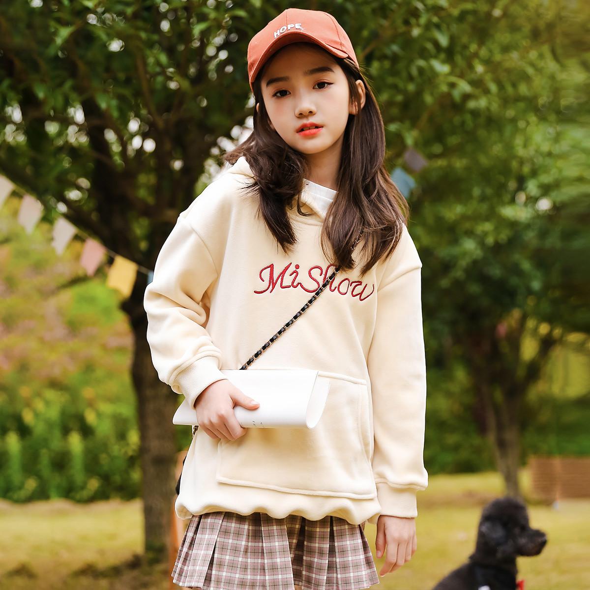 富罗迷富罗迷19年冬季新款女童卫衣丝绒加厚保暖宽松休闲韩版时尚百搭F9D8182Z25