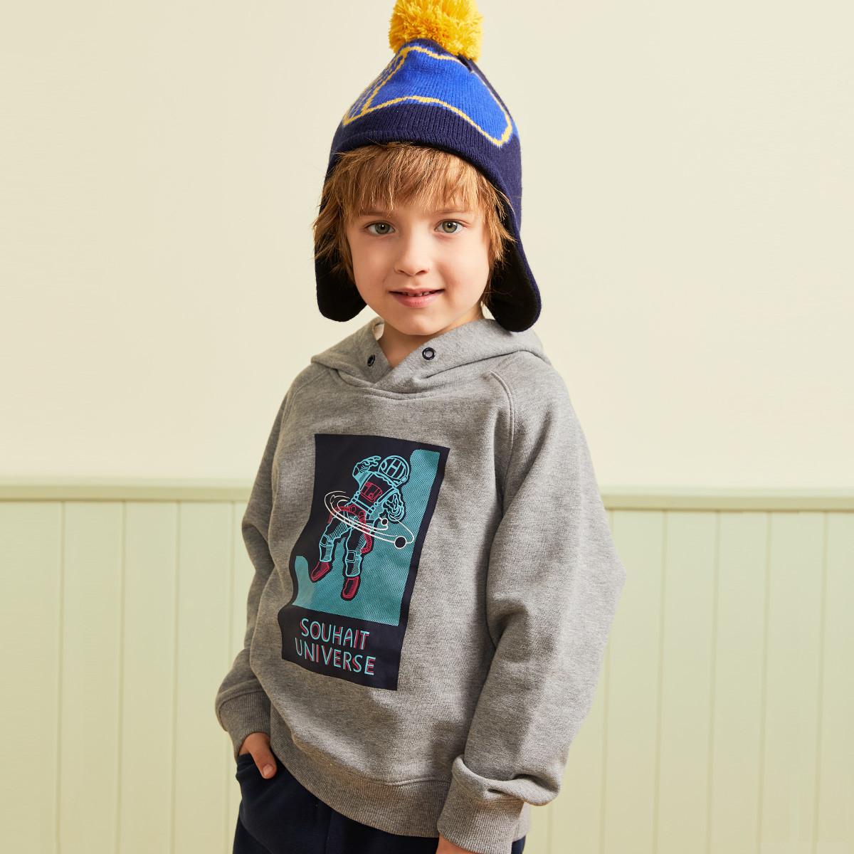 水孩儿水孩儿童装秋冬装新款男童时尚连帽套头卫衣SHNDBD36CQ779A01
