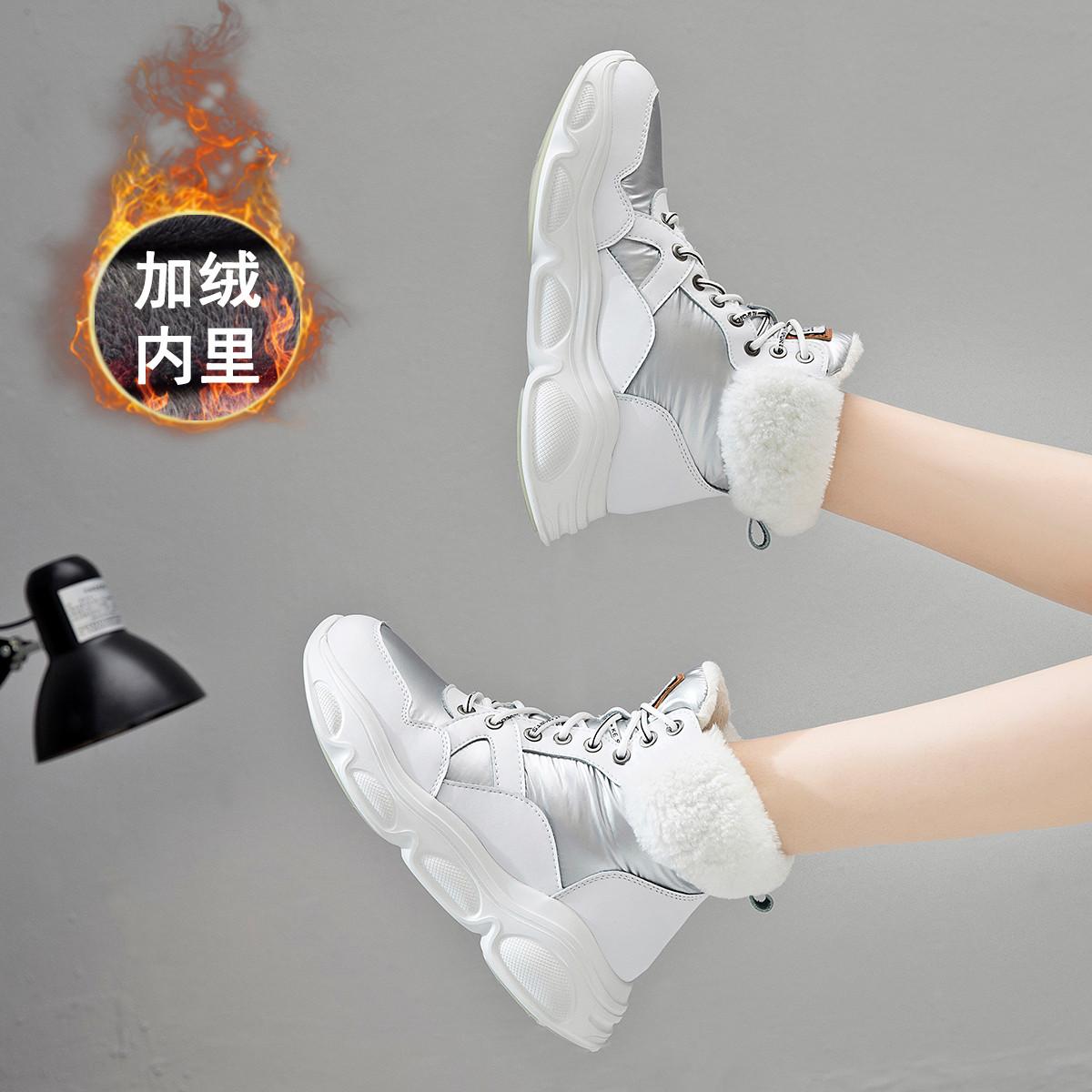 ZGR19冬新款马丁靴女英伦风增高厚底真皮加绒羊羔毛棉鞋高帮短靴19Q8963020