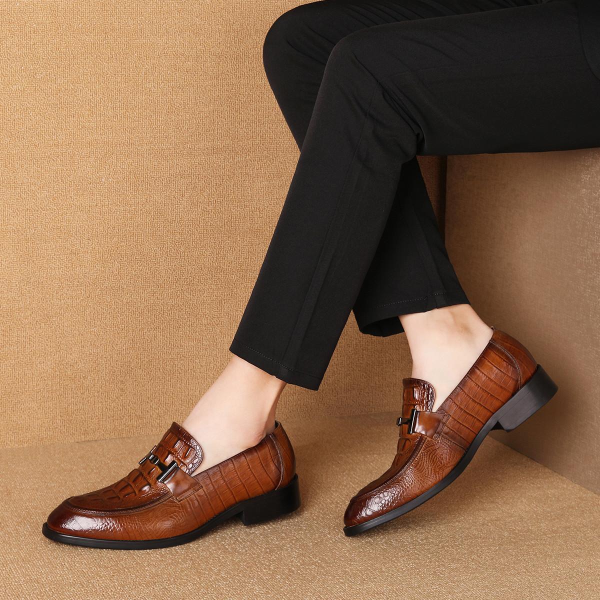 波尔谛奇新款真皮男鞋牛皮鳄纹套脚德比鞋男士商务皮鞋休闲鞋K9S80028-HZ