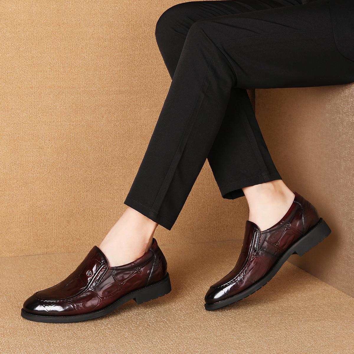 波尔谛奇新款真皮男鞋牛皮鳄纹套脚德比鞋男士商务皮鞋休闲鞋K9S80030-H3