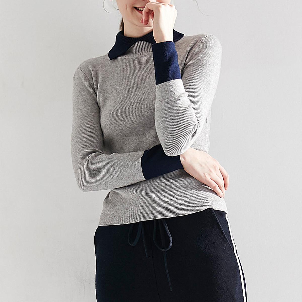 苏珊日记2019新款紧身上衣针织衫女假两件羊毛衫打底衫女修身女式毛衣WIM175
