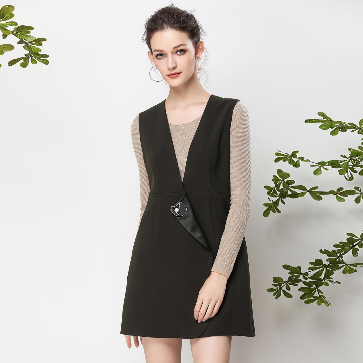 BUOUBUOUBUOUBUOU 秋冬新款时尚修身气质纯色外套马甲女BE1C010G48