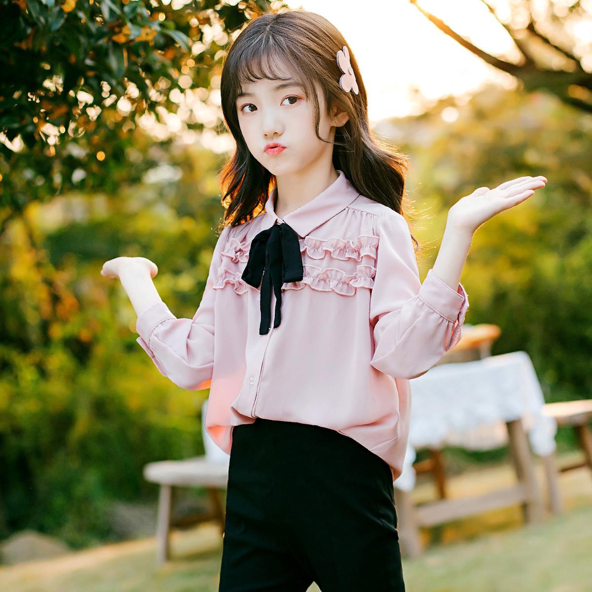 富罗迷富罗迷20年春季新款女童衬衫蝴蝶结糖果色韩版时尚百搭F0A8243C02