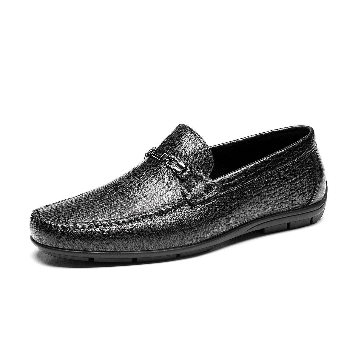 宾度宾度春季新品一脚蹬商务休闲男士皮鞋羊皮方头时尚百搭帅气男皮鞋V0G00101