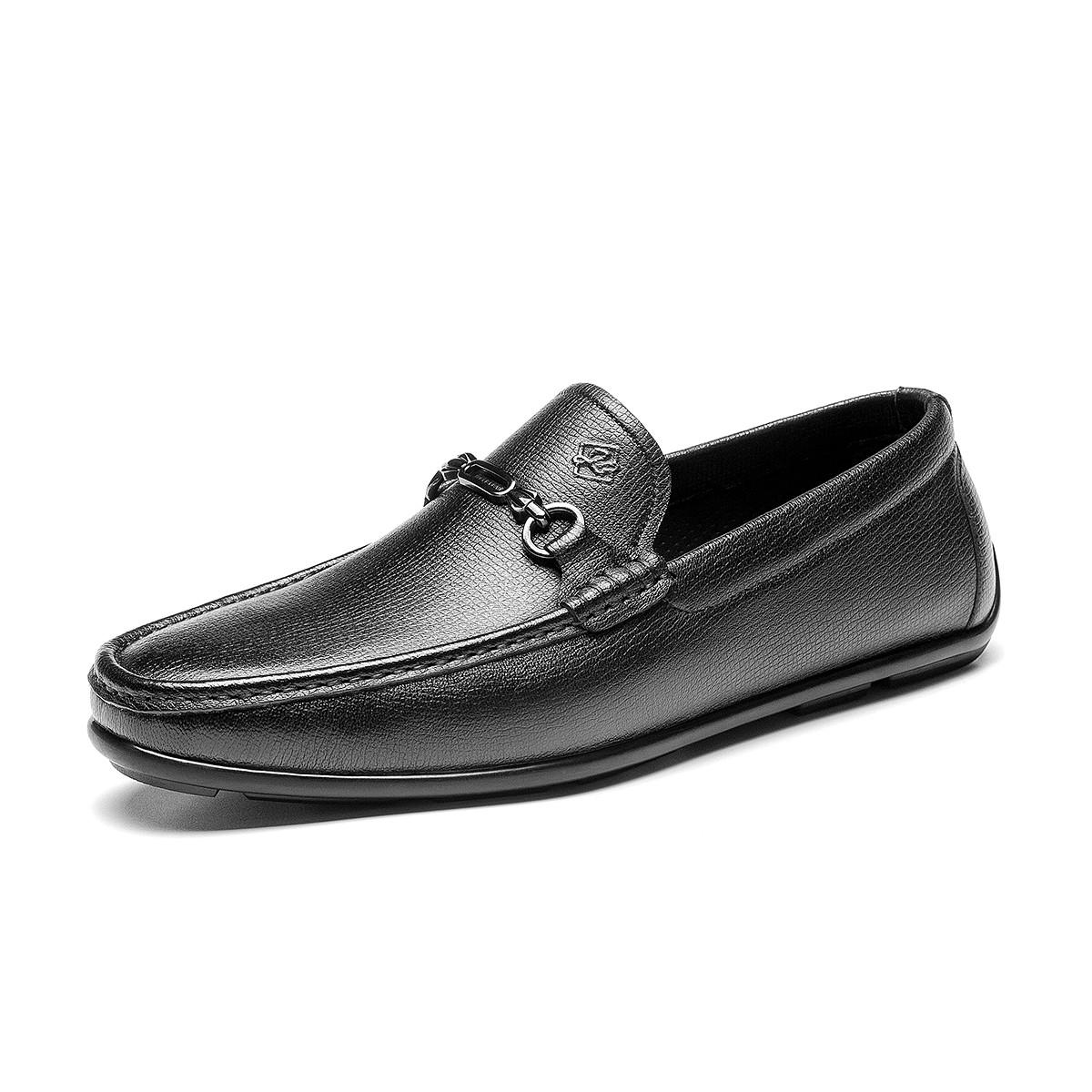宾度宾度春季新品牛皮时尚商务鞋纯色百搭男鞋圆头脚蹬便携男皮鞋V0R20201