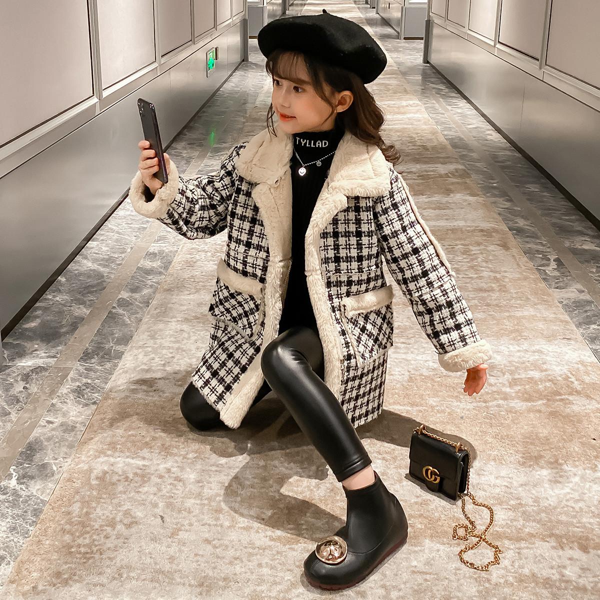 dme·kids德玛纳童装冬季新款女大童女童儿童撞色格纹中长款保暖外套Q534450485033902