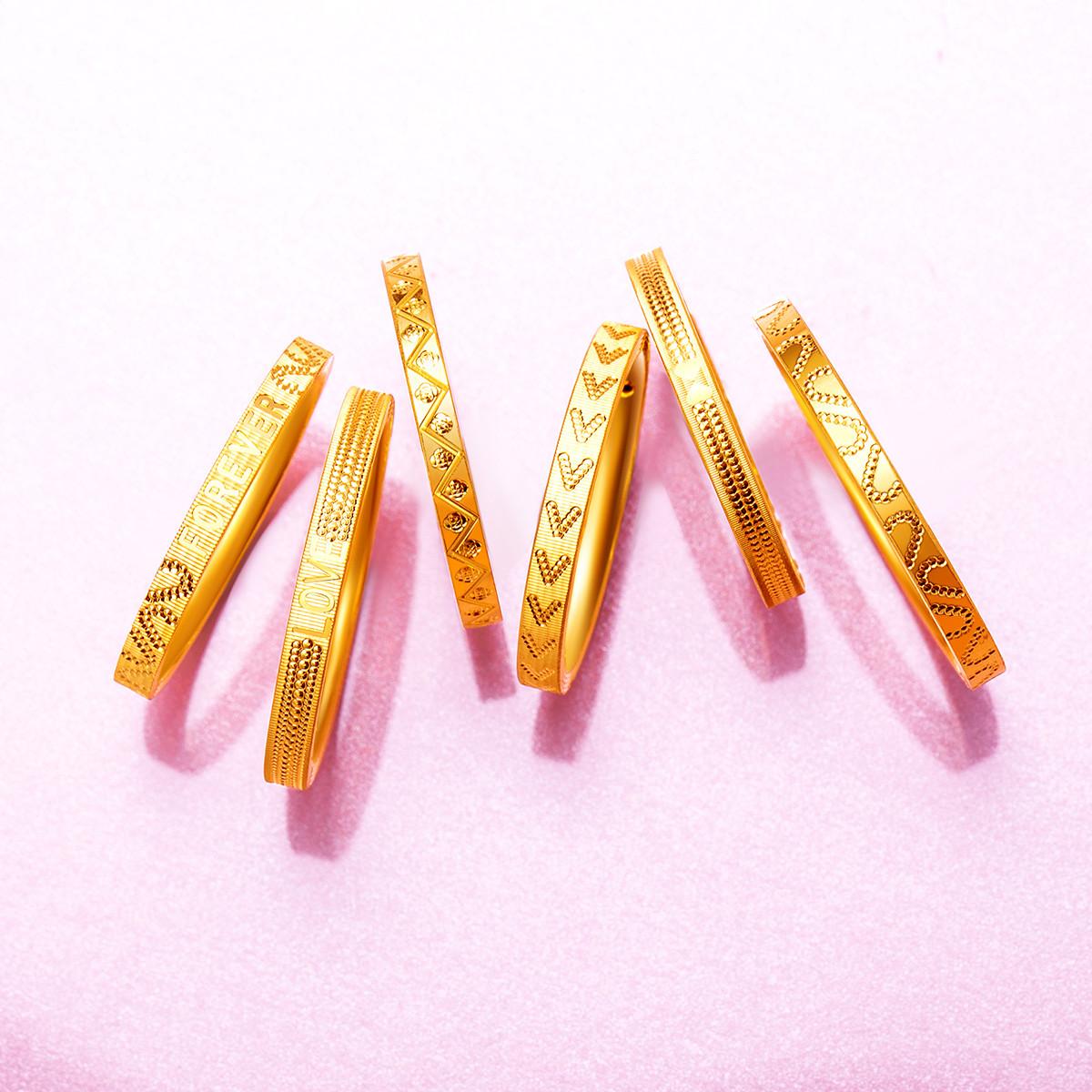 梦金园时尚3D硬金足金黄金戒指女士食指戒尾戒单只/计价/多款可选GTYJJZ008