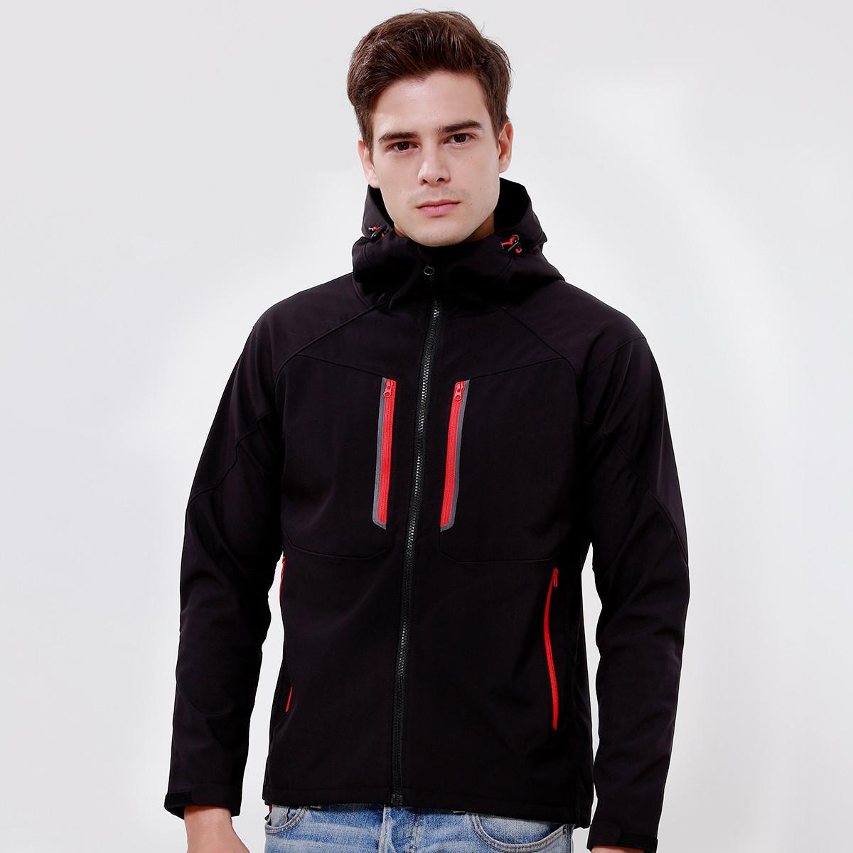 宝美秋冬新款 男款软壳衣 内里有抓绒舒适耐磨防风夹克保暖外套情侣款FRA83347C黑色