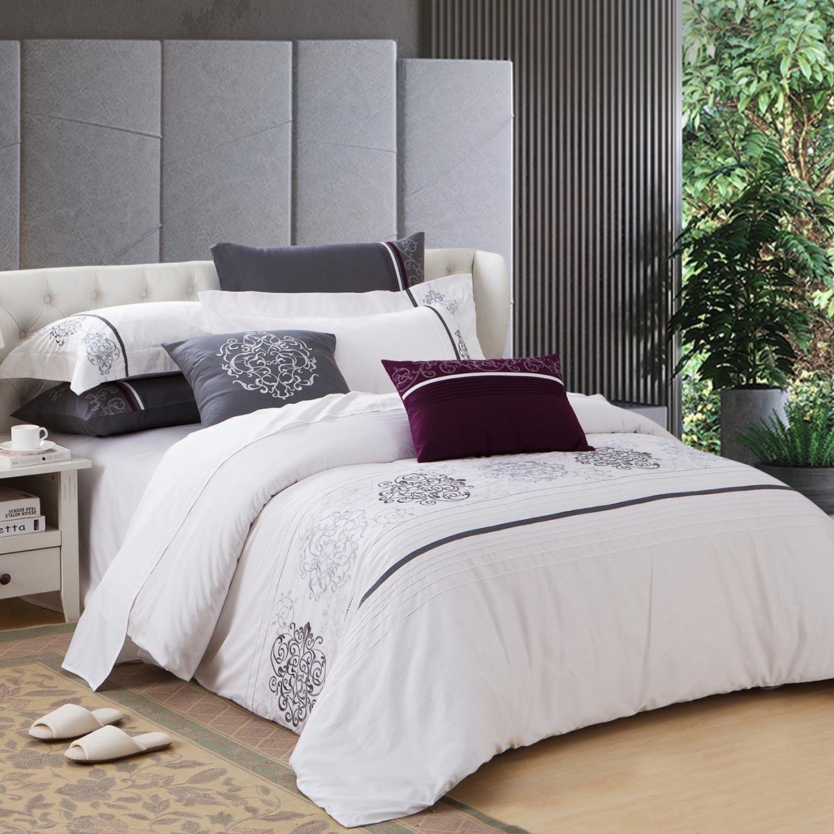 康尔馨五星级酒店全棉贡缎绣花 丝滑透气 床上用品纯棉四件套6925601501739