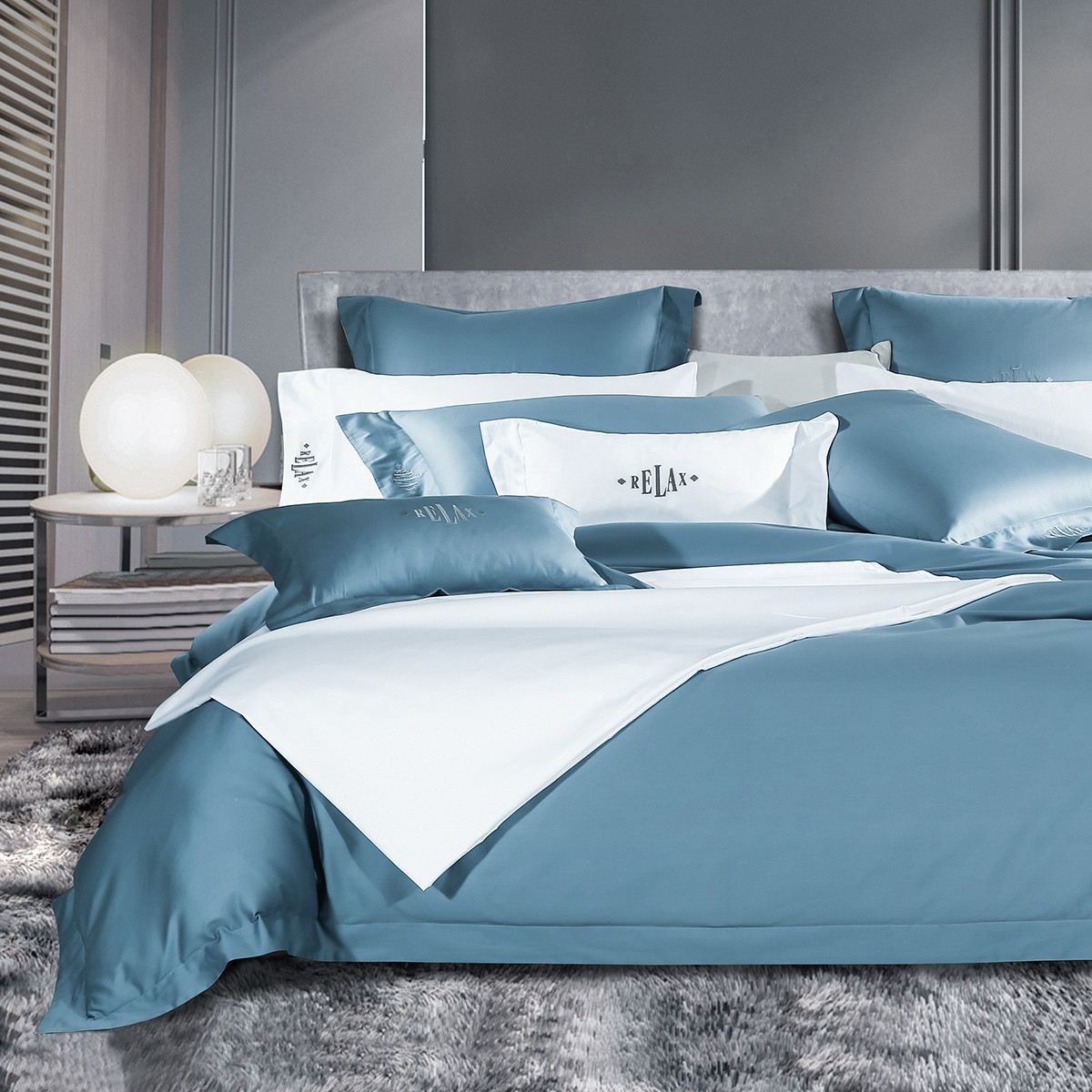 康尔馨世茂希尔顿五星级酒店60支纯棉全棉床单被套床上用品四件套6925601536434