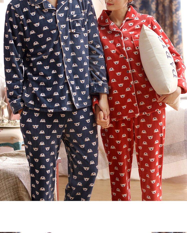 庆同家居服男女女士长袖纯棉睡衣套装95763101_唯品会