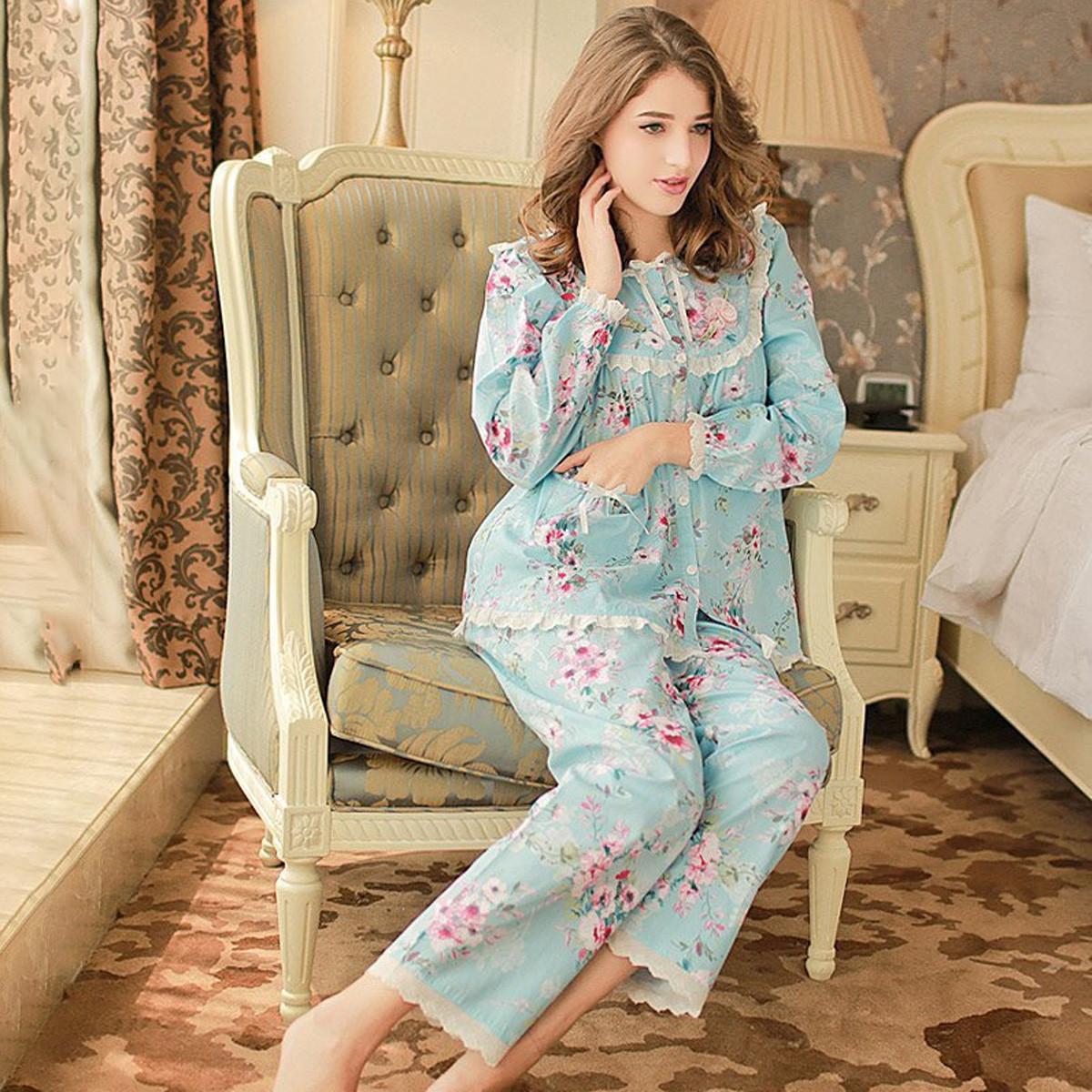 庆同女士梭织纯棉长袖睡衣家居服套装