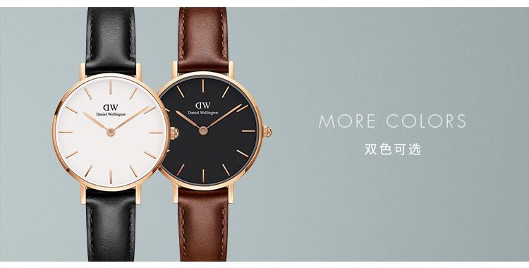 【专柜同步 畅销款】dw 28mm玫瑰金色皮质表带石英女手表