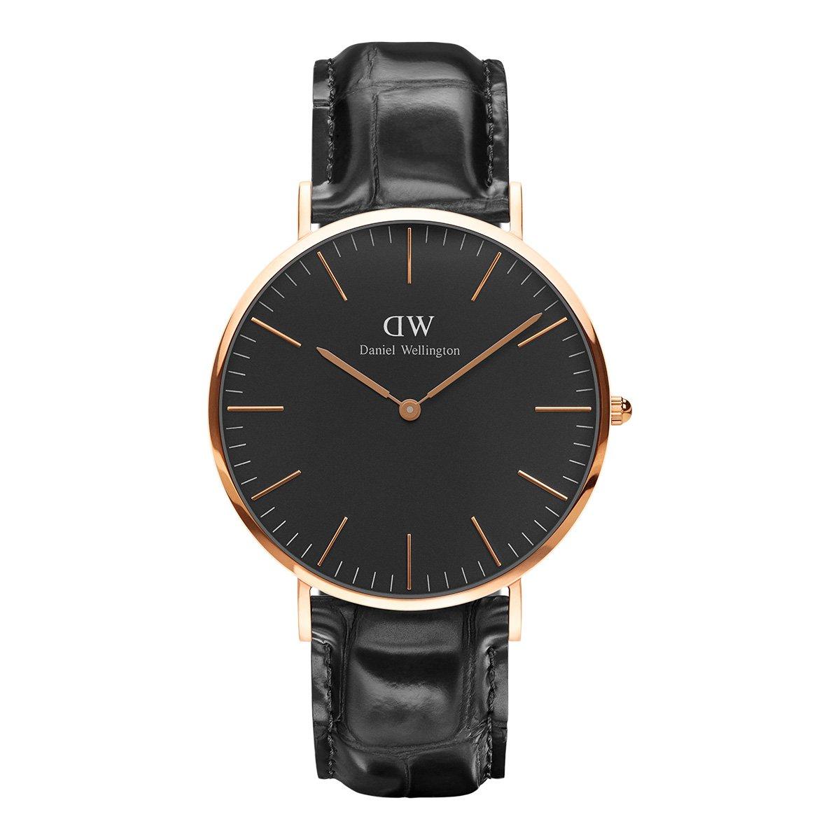 丹尼尔惠灵顿【两年保修】DW40mm石英手表专柜同款黑表盘皮质表带男士手表DW00100129