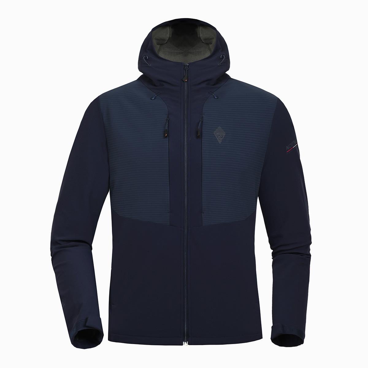 诺诗兰男式抓绒软壳衣防风高透气防水摇粒绒加厚保暖贴身舒适GF065523藏蓝色