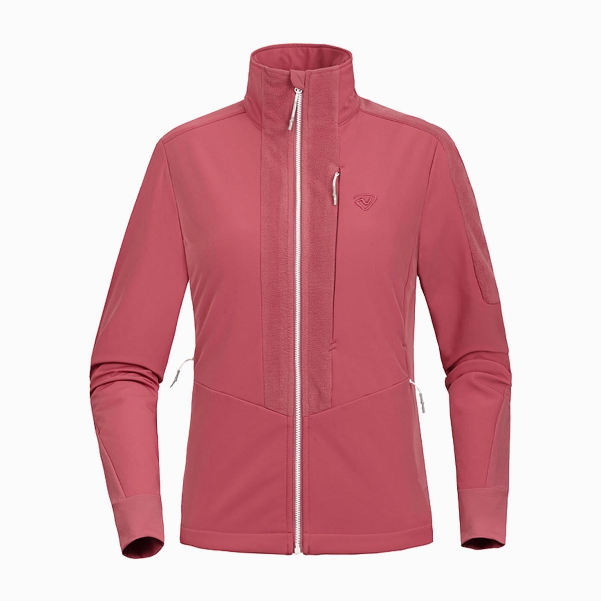 诺诗兰女式软壳衣 高透气 防风防水抓绒加厚保暖摇粒绒可做内胆GF062524沙红色