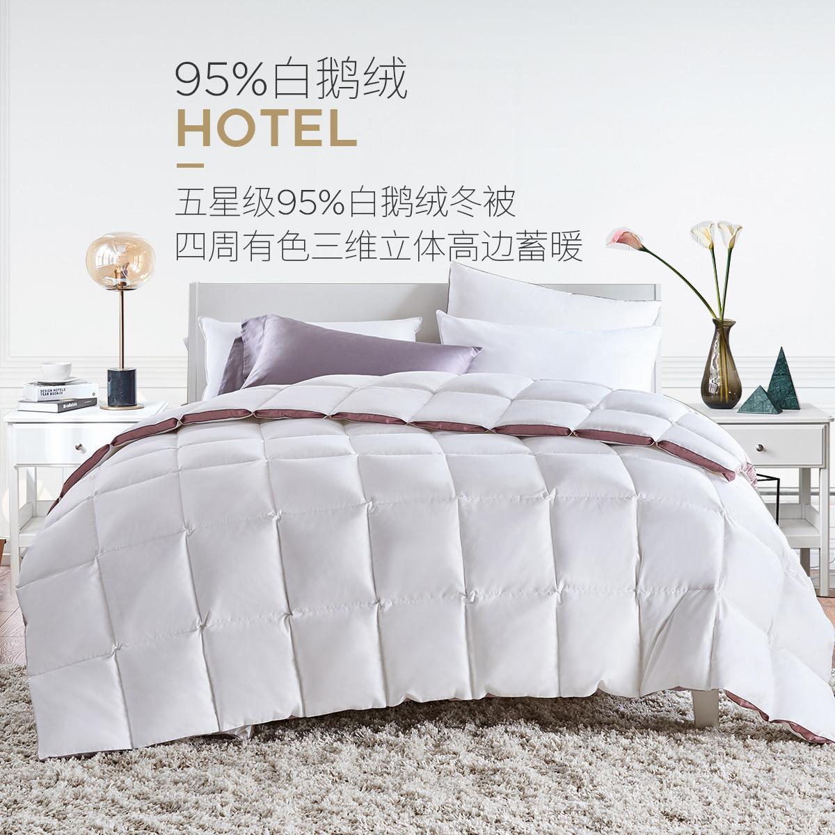 拉芙菲尔高品质95%白鹅绒被白鸭绒蓬松保暖加厚羽绒被芯冬被YYL16074A