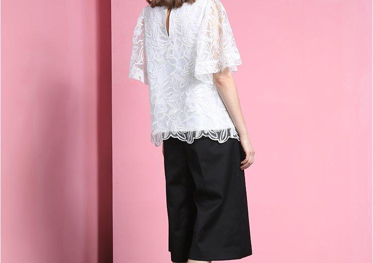 女式中袖衬衫_创意绣花舒适女士中袖衬衫本白