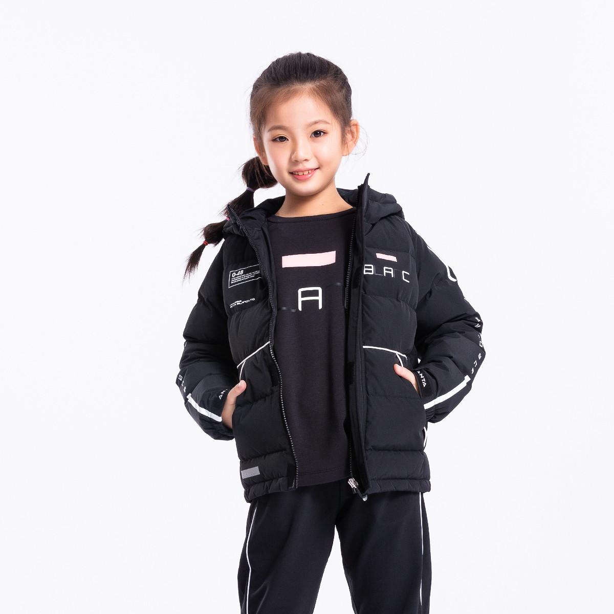 安踏安踏儿童 女中大童加厚保暖羽绒服时尚拼接运动潮款外套上衣36848911-3