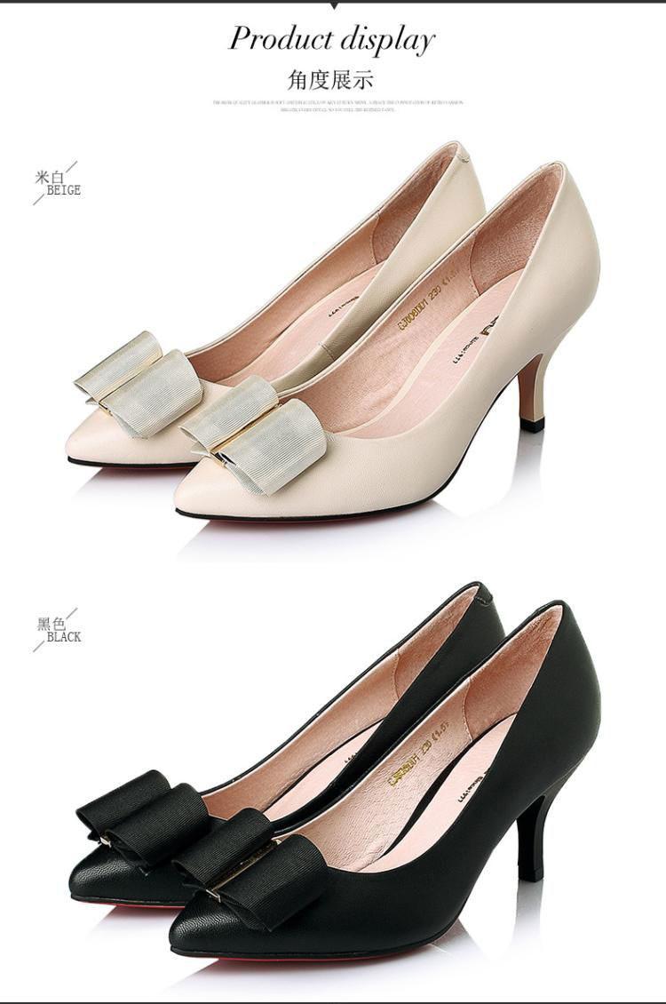 森达senda女鞋专场 森达春季时尚优雅羊皮酒杯跟浅口女高跟鞋  品牌图片