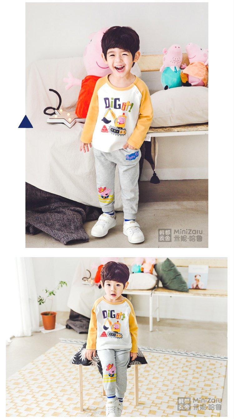 米妮哈鲁minizaru男童儿童长袖小猪佩奇t恤