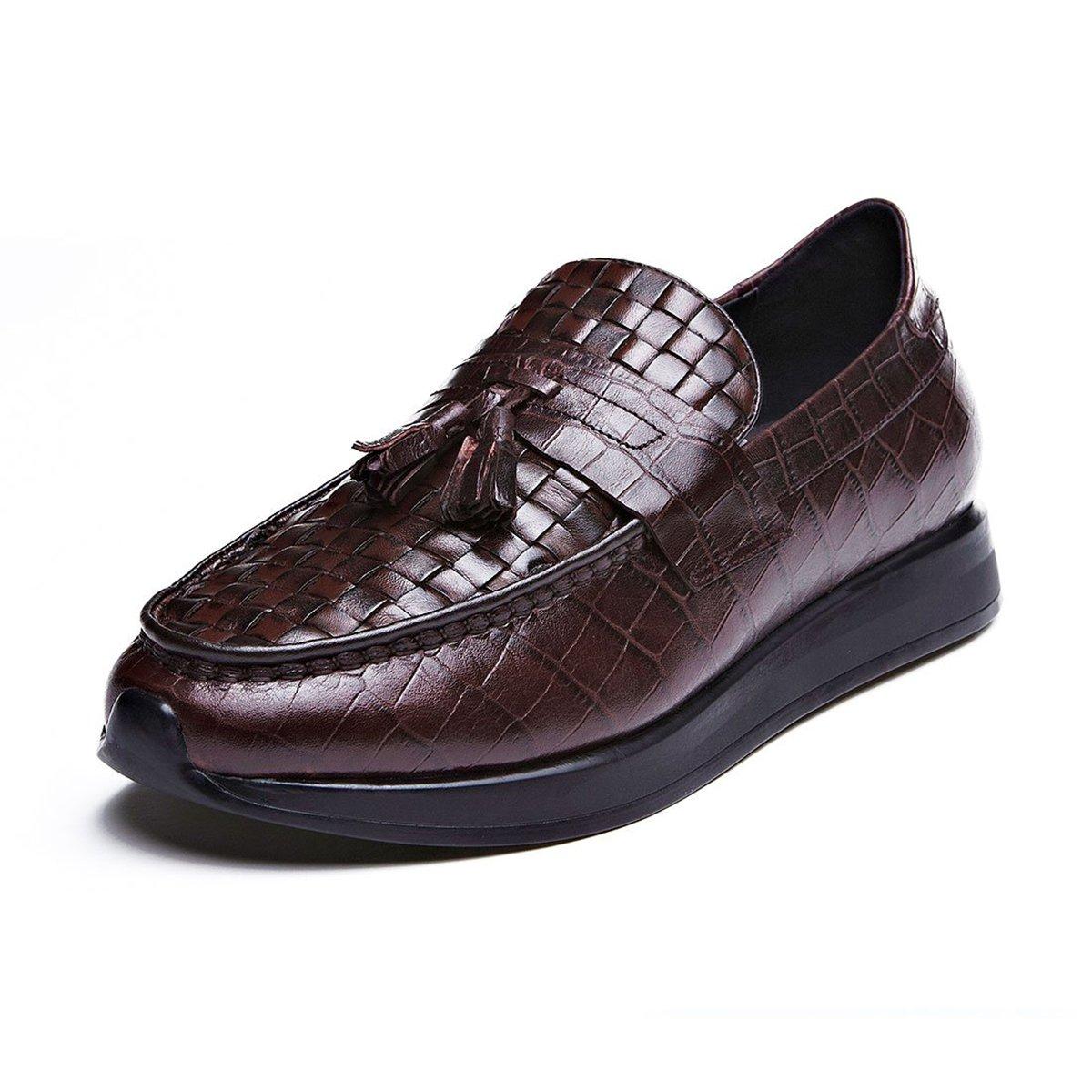 乔比迈凯秋季透气厚底增高正装乐福鞋复古编织英伦鞋真皮男士商务休闲皮鞋VIPDY5201R0