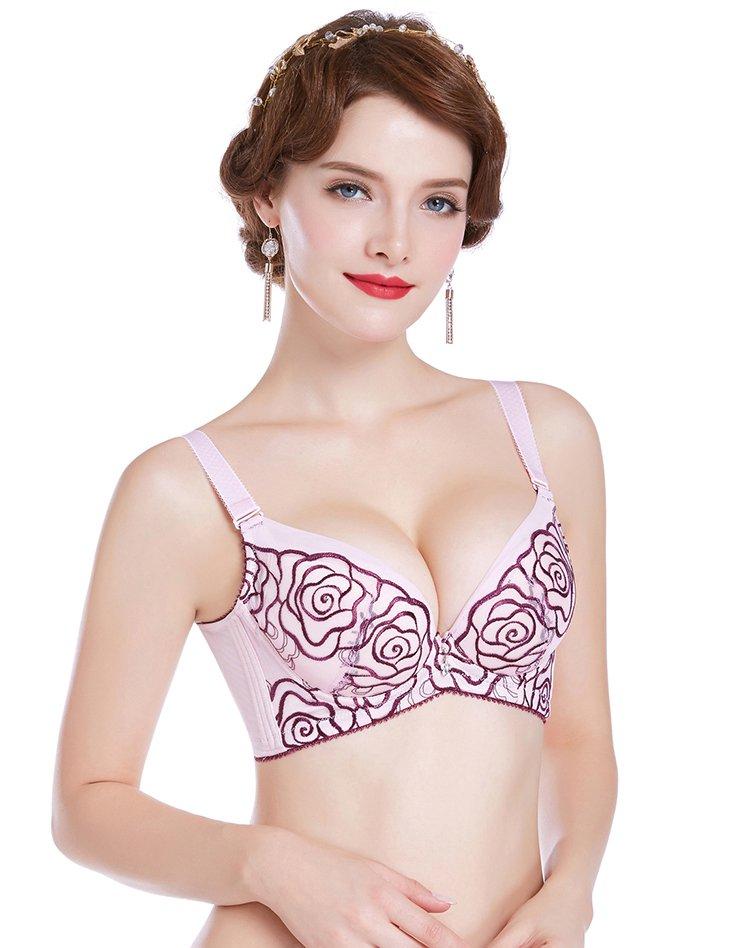 玫瑰刺绣款文胸幽紫色