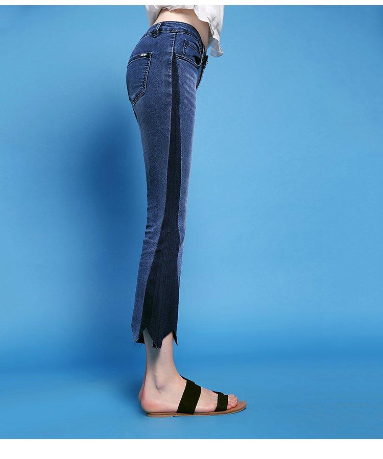 拉夏贝尔旗下puella&7m专场 齿轮脚口微喇叭牛仔裤  图案: 纯色 适用