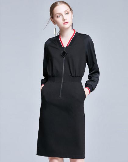 新款时尚韩版女装简约裙子春秋季长袖运动休闲风气质显瘦连衣裙