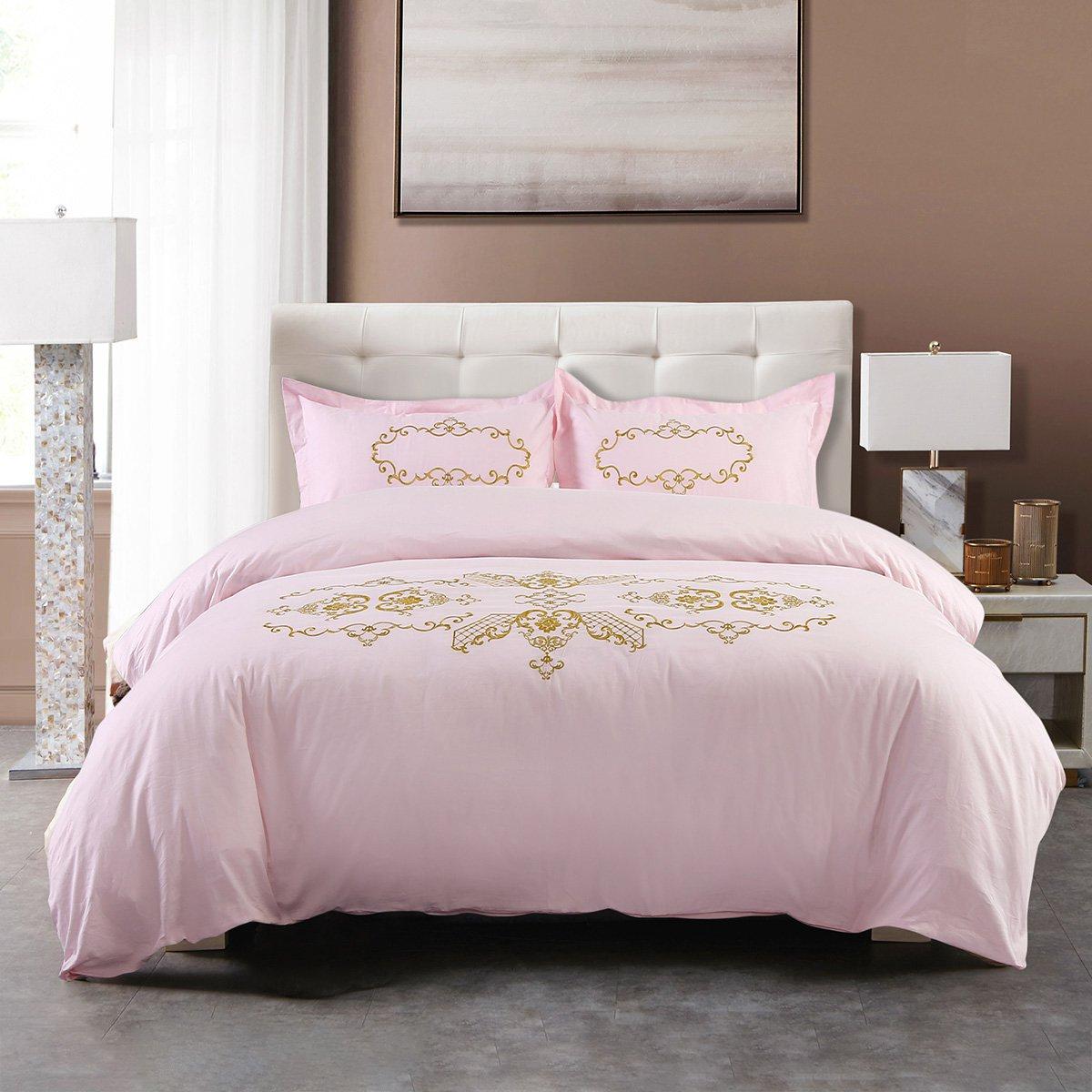 Ramada五星级酒店风简约绣花粉色被套床单全棉床上用品纯棉四件套BS171026