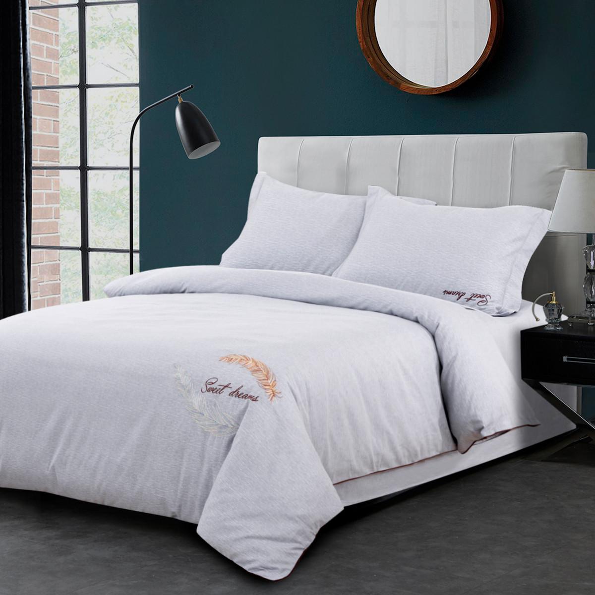 Ramada简约纯色绣花全棉床单式被套床上用品纯棉四件套BS171041