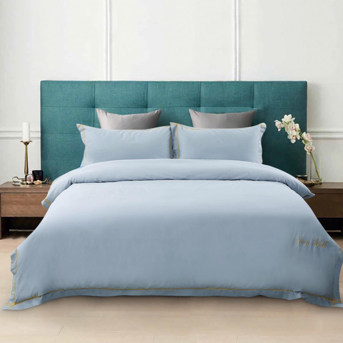 Ramada全棉纯色刺绣床单被套秋冬保暖全棉套件床上用品纯棉四件套BS171043L
